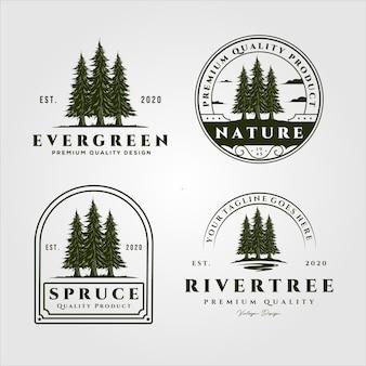 Alberi di pino impostare logo vintage e distintivo