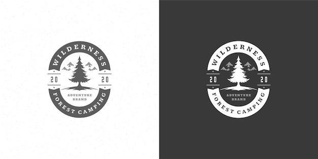 Illustrazione dell'emblema del logo della siluetta degli alberi di pino
