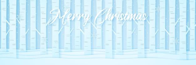 Alberi di pino sulla neve nel paesaggio invernale con neve che cade e fiocchi di neve, scritte, stile di arte della carta