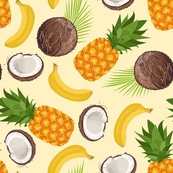 Modello senza cuciture di ananas, banana e cocco. Vettore Premium