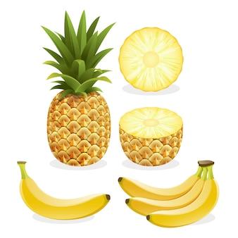 Ananas e banana frutta isolato su bianco
