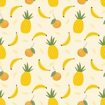 Modello senza cuciture di ananas e banana. Vettore Premium