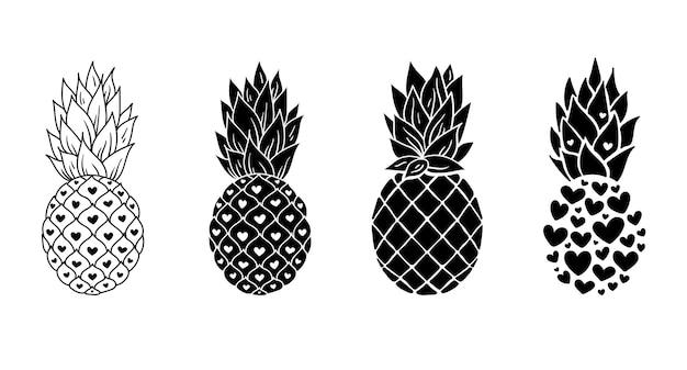 Pacchetto di clipart di ananas, sagoma di ananas in bianco e nero, illustrazione di frutta