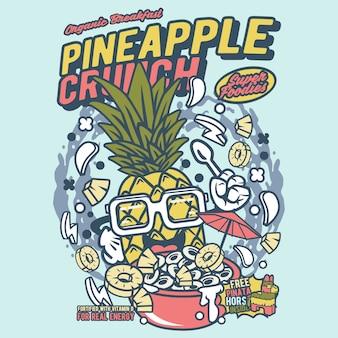 Cartone animato di scricchioli di ananas