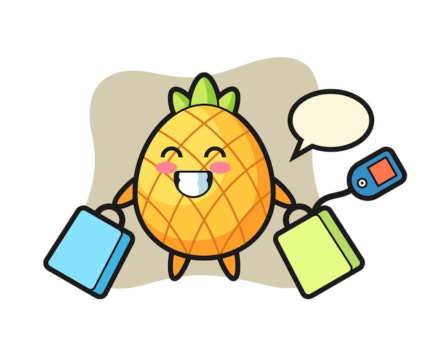 Ananas, design in stile carino per maglietta, adesivo, elemento logo