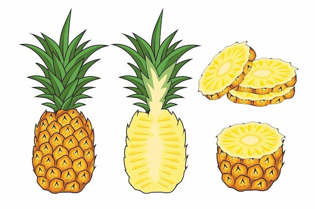Insieme del fumetto della frutta dell'ananas isolato su bianco