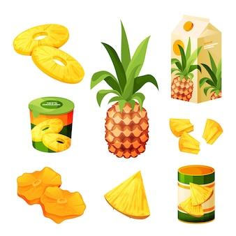 Set di prodotti alimentari di frutta ananas