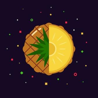 Sfera della frutta dell'ananas con il logo della mezza fetta, concetto piano del modello di progettazione