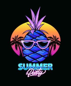 Illustrazione di ananas con palme e tramonto.