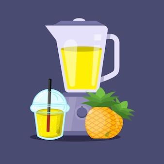 Icona della tazza di plastica del frullatore del succo d'ananas