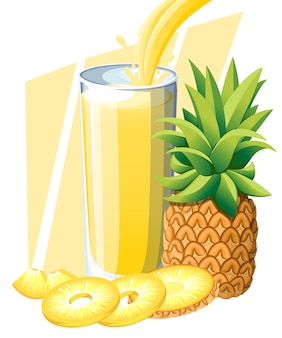 Succo di ananas. bevanda di frutta fresca in vetro. frullati di ananas. il succo scorre e schizza nel bicchiere pieno. illustrazione su sfondo bianco. pagina del sito web e app per dispositivi mobili