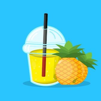 Succo d'ananas con icona di imballaggio in tazza di plastica