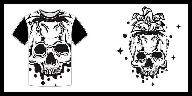 Un teschio simile ad un ananas, design della maglietta