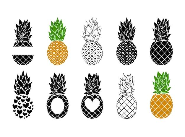 Le clipart della cornice del monogramma di ananas raggruppano la cornice di frutta tropicale con il posto per il testo