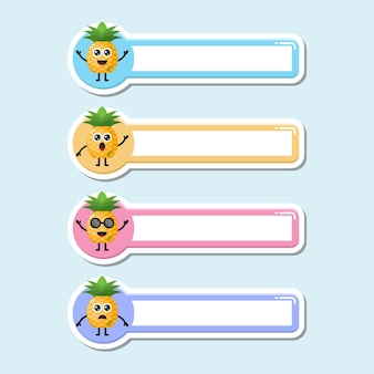 Targhetta nome ananas logo simpatico personaggio
