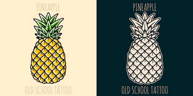 Tatuaggio all'antica di ananas.