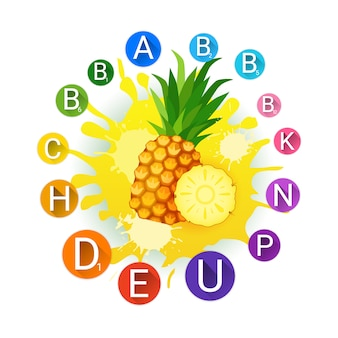 Ananas over paint splash fresh juice and vitamins logo prodotti alimentari naturali