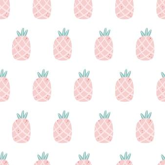 Motivo pastello all'ananas. modello senza cuciture tropicale nei colori rosa. ideale per la stampa di tessuti per bambina, abbigliamento, carta da imballaggio Vettore Premium