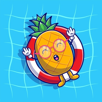 Ananas rilassante con galleggiante da nuoto