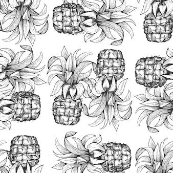Reticolo senza giunte di ananas illustrazione disegnata a mano della frutta tropicale. frutto di ananas in stile inciso. sfondo botanico retrò.