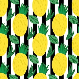 Modello senza cuciture di ananas su sfondo a strisce
