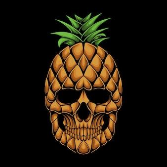 Illustrazione vettoriale di testa di teschio di ananas