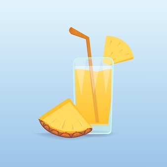 Fette di ananas e succo fresco isolato frutta realistica cocktail tropicale naturale