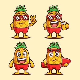 Set di personaggi dei cartoni animati estivi di ananas