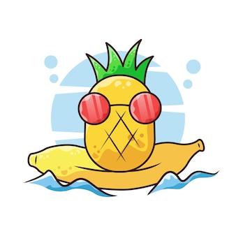 Ananas che fa surf con l'illustrazione del fumetto di vettore della banana