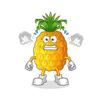 Mascotte molto arrabbiata dell'ananas