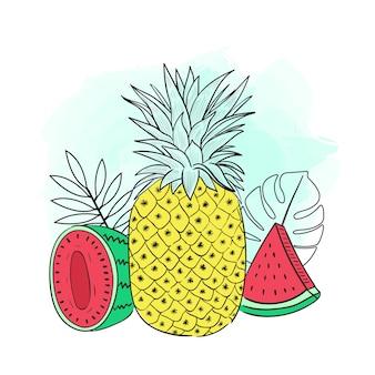 Fette di ananas e anguria con illustrazione di foglie tropicali su sfondo bianco