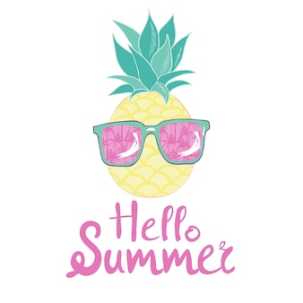 Ananas con design occhiali, esotico, sfondo, cibo, frutta, illustrazione natura ananas estate tropicale.