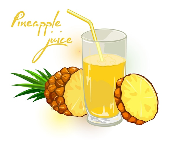 Ananas con foglie tagliate a fette e bicchiere di nettare giallo, succo o cocktail con cannuccia