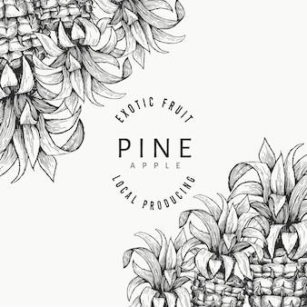 Modello di disegno di ananas e foglie tropicali. illustrazione di frutta tropicale di vettore disegnato a mano. banner di frutta ananas stile inciso. cornice botanica retrò.
