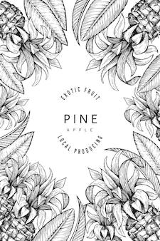 Modello di disegno di ananas e foglie tropicali