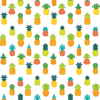 Modello senza cuciture disegnato a mano di vettore di ananas. frutti tropicali ed esotici su sfondo bianco