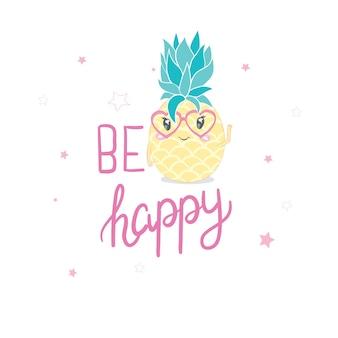 Ananas indossando occhiali da sole, isolati su sfondo bianco. succo di ananas, frutta tropicale, vacanze estive, vacanze, concetto, spiaggia, viaggi. illustrazione