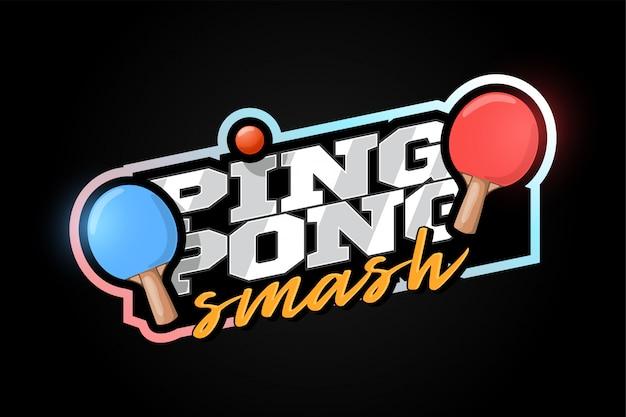 Mascotte di ping pong sport professionistico moderno tipografia in stile retrò.
