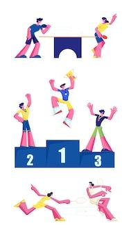 Ping pong, tennis e vincitori set premiazione isolati su sfondo bianco. cartoon illustrazione piatta