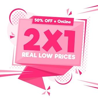 Banner di offerta speciale 2x1 rosa