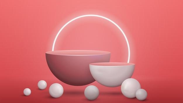 Scena astratta rosa con piedistalli semicircolari vuoti con sfere realistiche intorno. scena per la presentazione del tuo prodotto