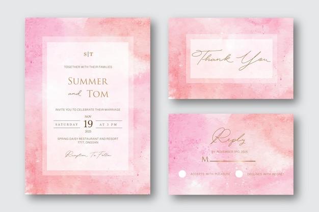Set di invito a nozze astratto rosa aquarelle