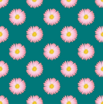 Fiore rosa dell'aster senza cuciture su green teal background