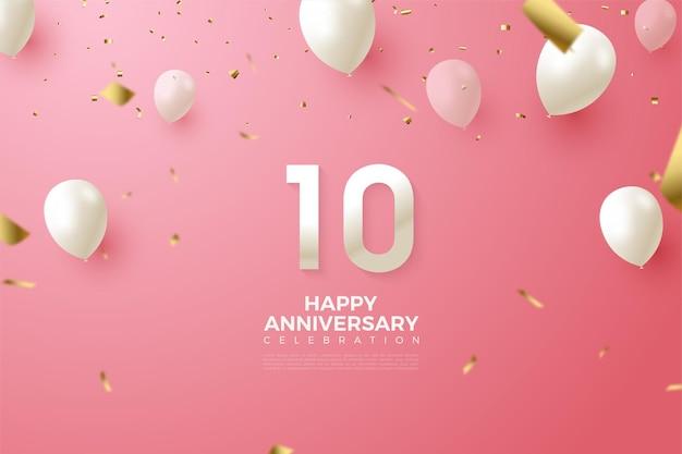 Sfondo rosa per il decimo anniversario con numeri e palloncini