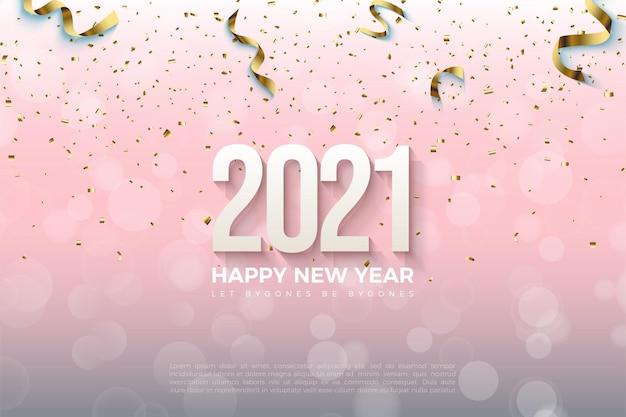 Sfondo rosa 2021 felice anno nuovo con effetto goccia d'acqua