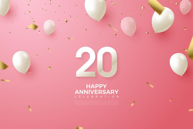 Sfondo rosa per il 20 ° anniversario con numeri e palloncini bianchi