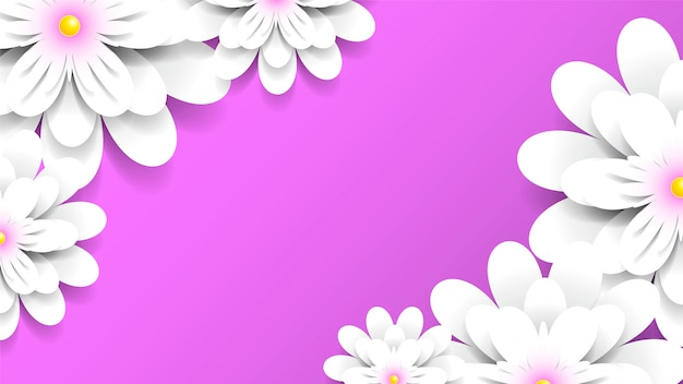 Sfondo rosa con fiori bianchi
