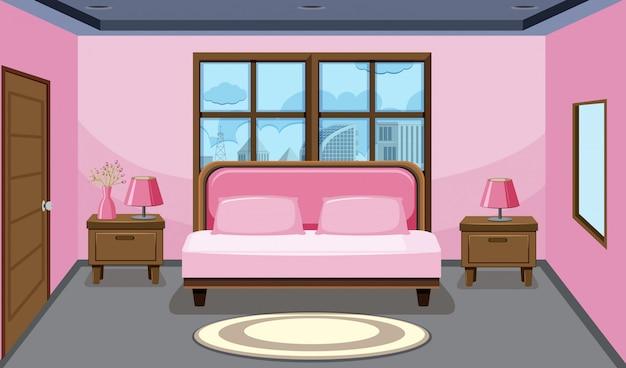 Interior design camera da letto rosa