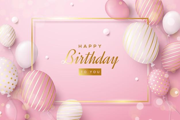 Sfondo di compleanno rosa con palloncini e strisce dorati di lusso