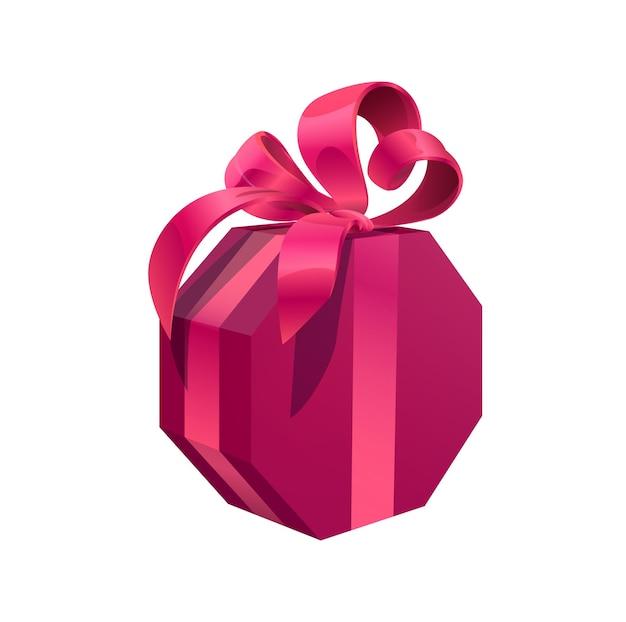 Confezione regalo di compleanno rosa, regalo di festa vettoriale avvolto con sontuoso fiocco. confezione regalo a forma di esagono di cartone isolato per eventi festivi natale, san valentino, boxing day, anniversario, celebrazione del nuovo anno